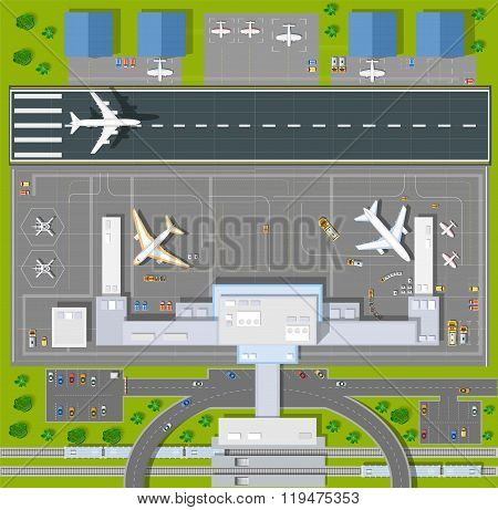 Overhead   point of view airport with all the buildings, planes, vehicles and airport runway poster