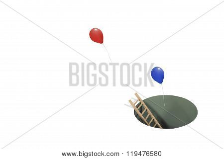 Balloons Coming From a Hole