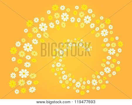 Flower spiral (flower swirl) in different shades of white, yellow and orange - background (theme, ca