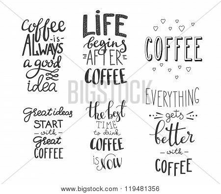 Quote Coffee Vector Typography Set