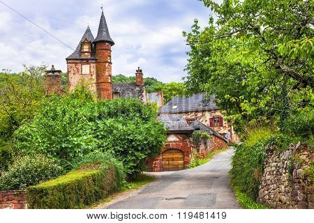 Collonges-la-Rouge - beautiful traditional  village in France