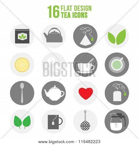 Flat Colorful Design Tea Icons Set