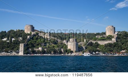Rumelian Castle In Bosphorus Strait Coast Of Istanbul City, Turk