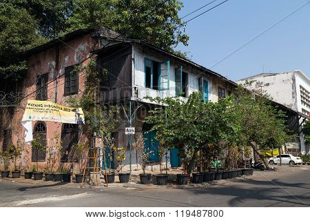 Jakarta, Indonesia - Circa October 2015: Decaying Buildings In Old Town  Jakarta