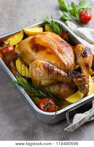 Whole Roasted Chicken With Vegetables And Herbs,