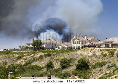 Brush Fire In A Residential Community in California