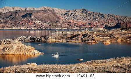Lake Mead And Powerboat