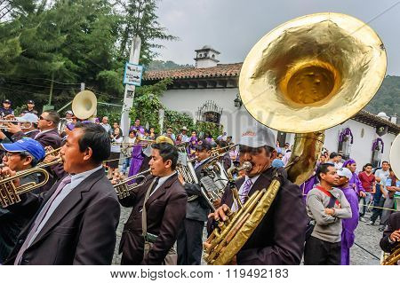 Musicians In Holy Thursday Procession, Antigua, Guatemala