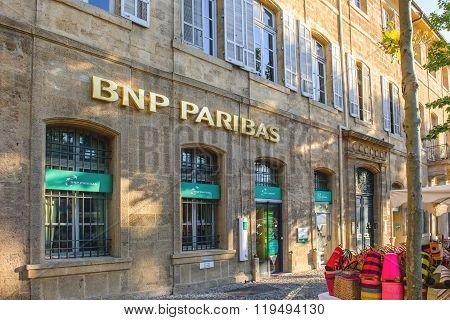 Bnp Paribas Entrance In The Charming City Of Aix