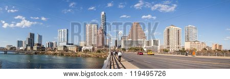 Austin, Tx/usa - Circa February 2016: Panorama Of Downtown Austin From Congress Avenue  Bridge