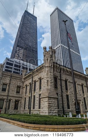 Chicago, Il/usa - Circa July 2015: John Hancock Center And Water Tower Place In Chicago,  Illinois