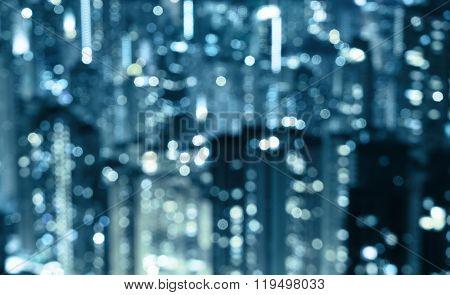 blurred lights in windows of skycrapers, Hong Kong
