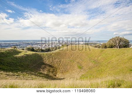 The Mount Eden With Auckland City View Background.