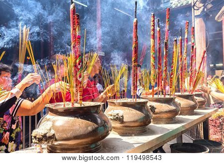 Pilgrims copper incense burner temple in spring