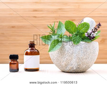 Alternative Health Care Fresh Herbs Basil ,sage ,rosemary, Mint  And Essential Oil  With Mortar On W