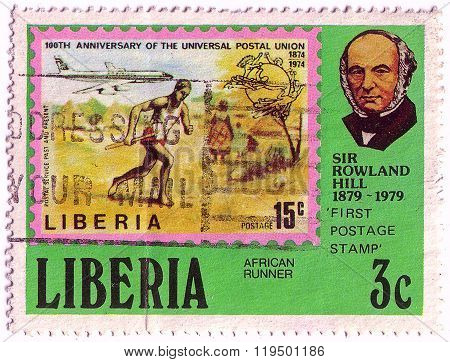 Liberia - Circa 1979: Stamp Printed By Liberia, Shows Rowland Hill, Mail Runner And Jet, Circa 1979