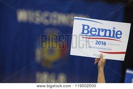 Woman Holding Bernie Sanders Political Sign