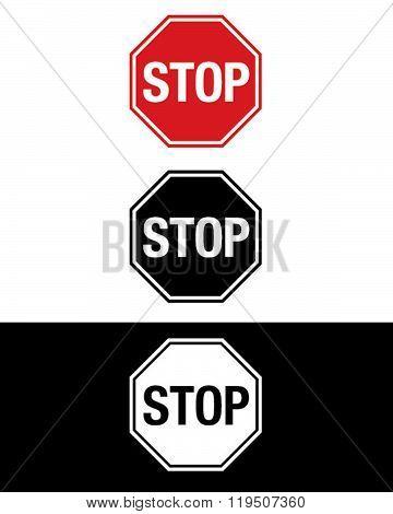Vector Stop Sign Set