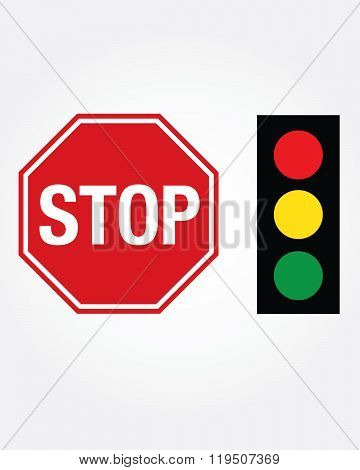 Vector Stop Sign and Stop Light Set