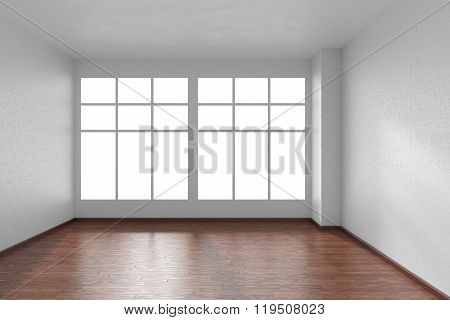 Empty Room With Dark Parquet Floor, Textured White Walls And Big Window