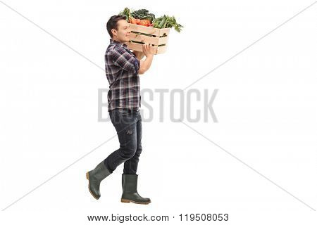 Full length profile shot of a young farmer carrying a crate with fresh vegetables on his shoulder isolated on white background