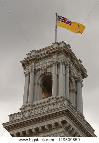 The belvedere tower of Government House, Melbourne with the flag of the Governor of Victoria raised