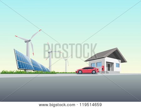 Flat vector illustration of a red electric car charging at the wall charging station placed on a house near solar panels and wind turbines producing electricity. Charge at home concept. poster