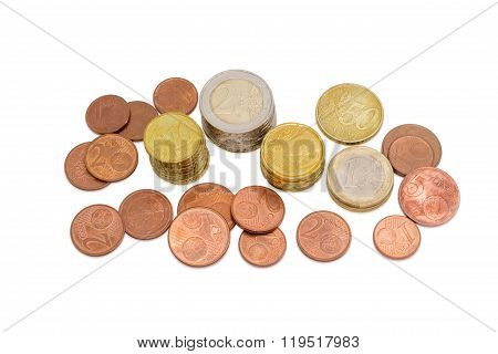 Different Euro Coins On A Light Background