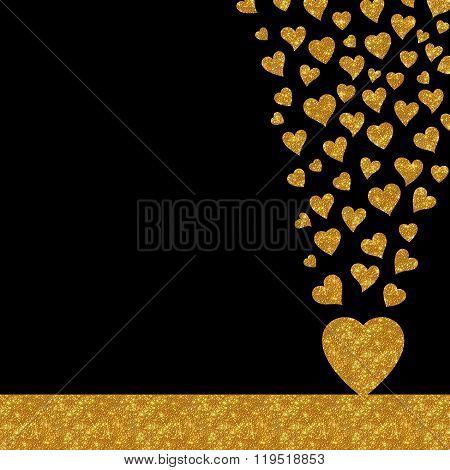 Gold glitter hearts luxury card