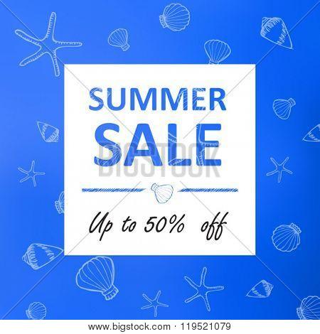 Summer  sale banner ocean shells