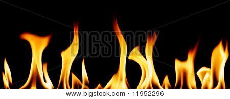 Series of individual flames isolated on black