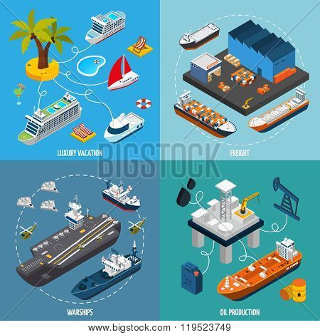 Ships Boats 4 Isometric Icons Square