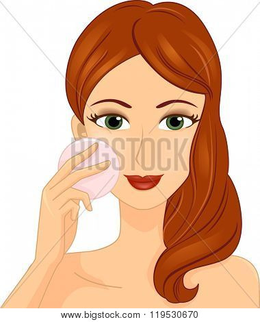 Illustration of a Girl Applying Pressed Powder on Her Cheeks