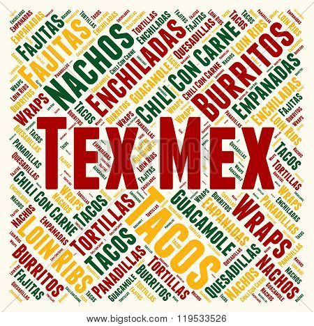 Tex Mex cuisine word cloud concept