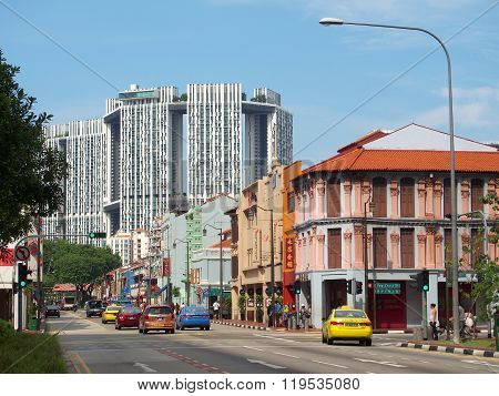 The junction in Singapore's Chinatown, Singapore.