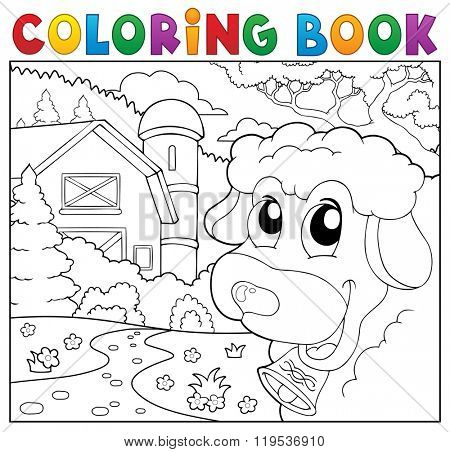 Coloring book lurking sheep near farm - eps10 vector illustration.