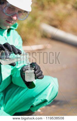 Environmentalist Examining Water