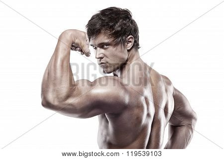 Strong Athletic Man Fitness Model posing back muscles triceps latissimus over white background