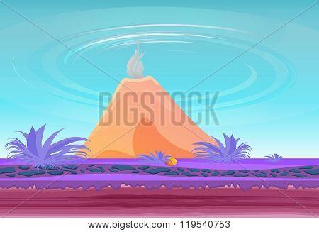 Paradise fantasy island with volcano.