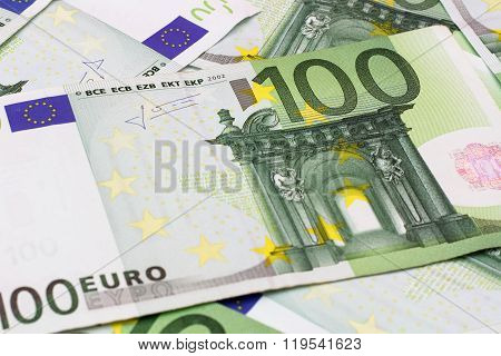 Money Background - One Hundred (100) Euro Bills Banknotes