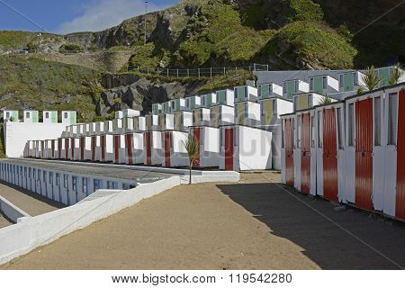 Beach Huts In Newquay, Cornwall, England
