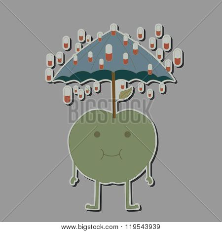 apple with umbrella and rain tablets