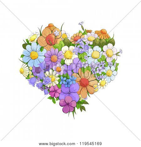 Bright floral heart on white background
