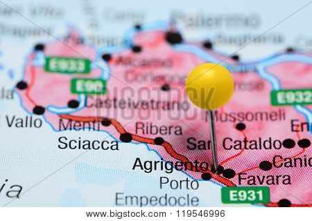 Agrigento pinned on a map of Italy