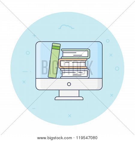 Thin line flat design vector illustration concept for digital library, online book store, e-reading isolated bright background. Computer with books inside, vector illustration.