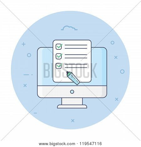 Thin line flat design design style concepts for marketing strategy, marketing plan. marketing plan icon. marketing strategy icon. marketing plan logo. marketing strategy logo. marketing flat concept