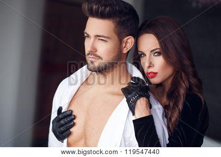 Sexy Milf Woman Cuddle Macho Man Indoor