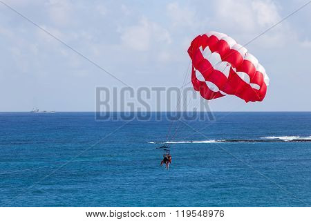 Parasailing Above Caribbean Sea