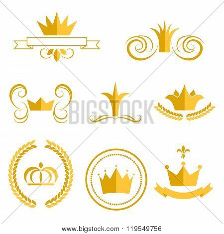 Gold Crown Icons And Badges Clip Art Vector Set.