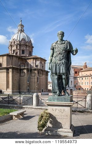 Julius Caesar Statue In Rome Italy